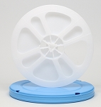 8mm 400 Ft. Movie Film Reel & Round Vented Can Set (Blue Case White Reel)
