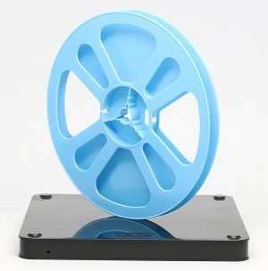 Super 8 400 Ft. Movie Film Reel & Vented Can Set (Black Can Blue Reel)